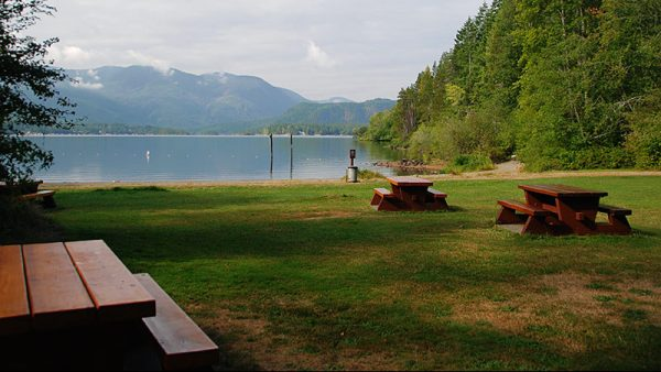 View of Sproat Lake picnic grounds, Alberni Valley